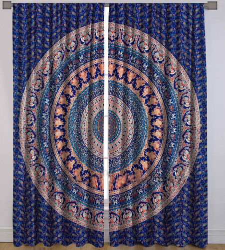 Indian Mandala Purple Peacock Elephant Ombre Hippie Bohemian Curtain