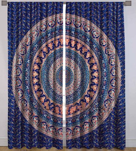 Indian Mandala Purple Peacock Elephant Ombre Hippie Bohemian Curtain