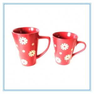 Manufacturers Hot Sales One Set of 3 Pieces Sky Blue Stoneware Mug Decal Ceramic Flaring Cups