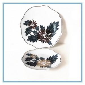 5a  and 8a   Ceramic Stoneware Plate/Gold Chrysanthemum Irregular White Plate