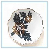 5″and 8″ Ceramic Stoneware Plate/Gold Chrysanthemum Irregular White Plate