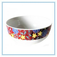 Decal Art Stoneware Bowl,A Set of 3 Pieces Ceramic Colorful Bowls