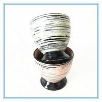 Embossed Ceramic Goblet Shape Mug Without Handle