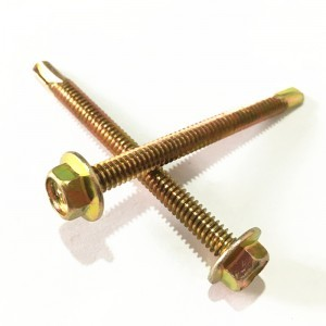 Hardware yellow zinc plated hex head self drilling screws