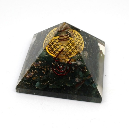 ORGONE BLACK TOURMALINE IN FLOWER OF LIFE LOGO PYRAMID