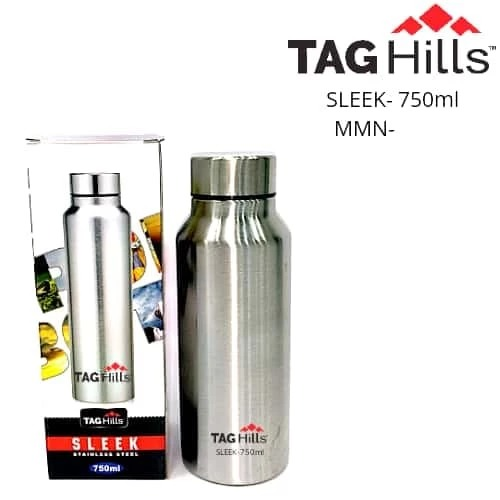 TAG Hills Sleek Stainless Steel Water Bottle 750ml Silver