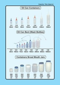 Oil Containers, Wash Bottles, Broad mouth Jars
