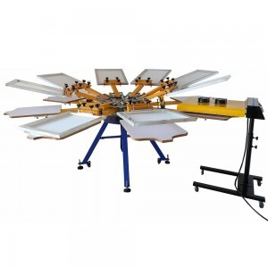 8 color 8 station screen printing machine