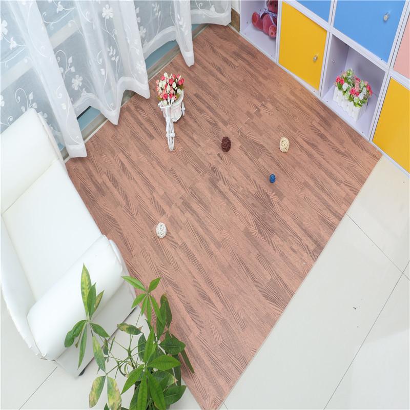 Wood Grain Floor Mat 3/8 Inch Thick Foam Interlocking Flooring Tiles with Borders Each Tile Measures 1 Square Foot Home Offi