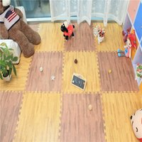 Wood Grain Floor Mat 3/8 Inch Thick Foam Interlocking Flooring Tiles with Borders Each Tile Measures 1 Square Foot Home Offi