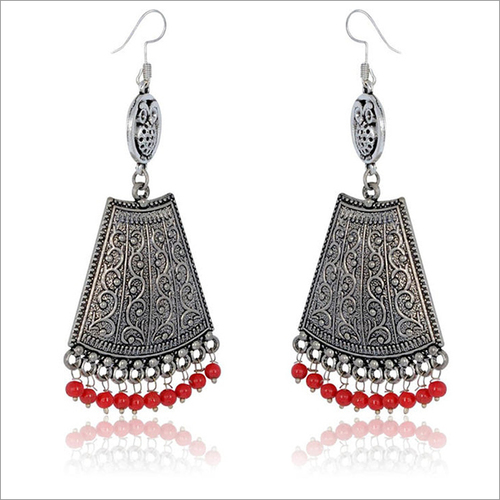 German Silver Beaded Earrings