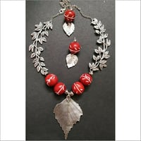 German Silver With Chemical Beads Simple Necklace