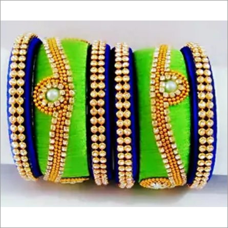 Multicolored Silk Thread Bangles With Moti Work