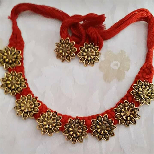 Red Cotton Thread With Golden Colour Flower Choker