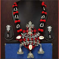 Traditional Indian Religious Handmade Fabric Necklace With Maa Durga Pendant
