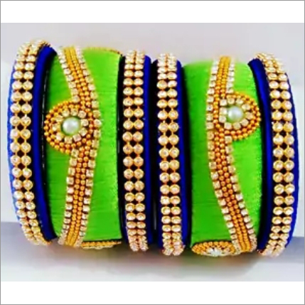 Silk Thread Bangles Set With Moti Work
