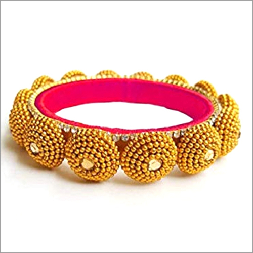 Silk Thread Bangles With Golden Colour Chain