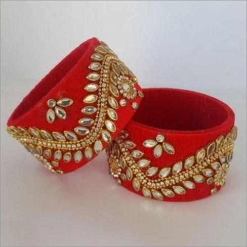 Silk Thread Bangles With Kundan