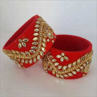 Silk Thread Bangles With Kundan