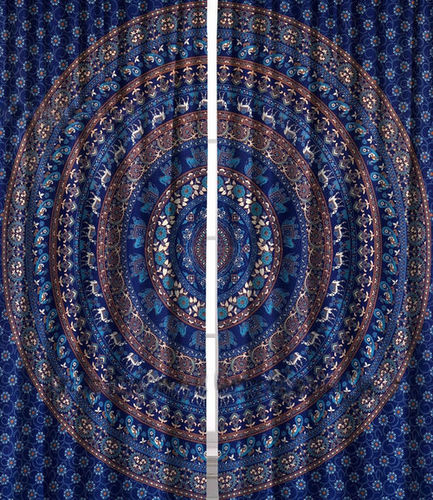 Indian Mandala Blue Cotton Ombre Hippie Bohemian Curtain