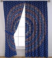 Indian Mandala Blue Cotton Ombre Hippie Bohemian Curtain