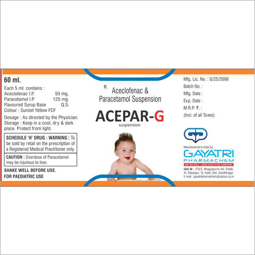 60 ml Aceclofenac And Paracetamol Suspension