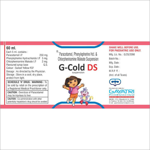 60 ml Paracetamol Phenylepherine Hcl And Chlorpheniramine Maleate Suspension