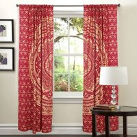 Indian Mandala Red Dye Gold Ombre Hippie Bohemian Curtain