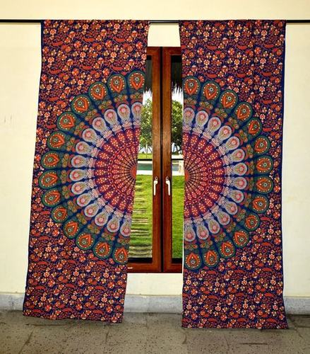 Indian Mandala Orange Cotton Ombre Hippie Bohemian Curtain