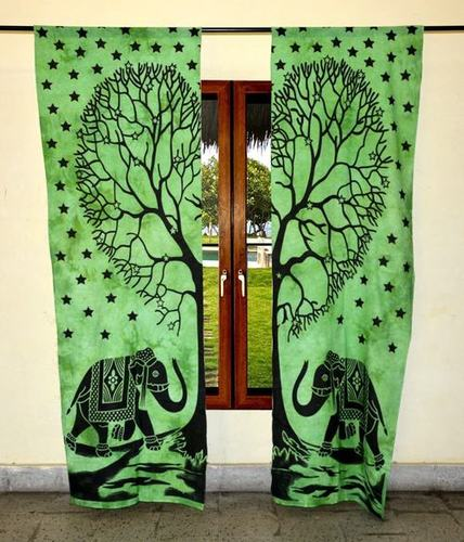 Indian Mandala Green Tree Elephant Ombre Hippie Bohemian Curtain