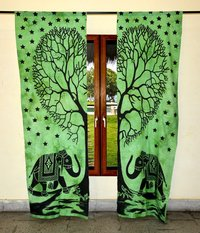Indian Mandala Green Tree Elephant Ombre Hippie Bohemian Curtain