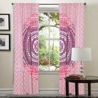 Indian Mandala Pink Cotton Ombre Hippie Bohemian Curtain