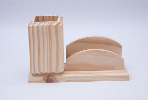 Wooden Pen And Card Stand
