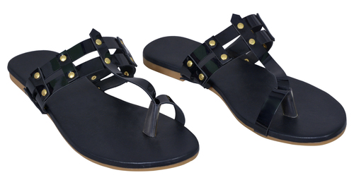 Ladies Black Flat Sandal