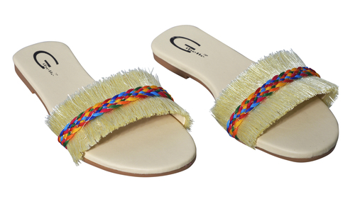 Ladies Casual White Flat Sandal