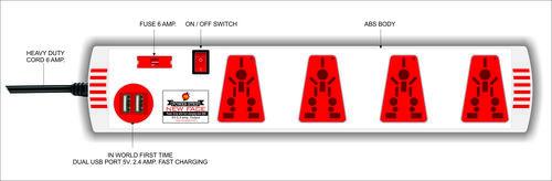 POWER STRIP 4 WAY SINGLE SWITCH WITH DUAL USB (5 MTR)