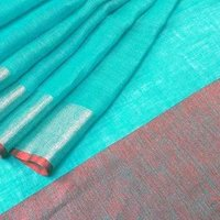Linen Pure Zari Border Saree