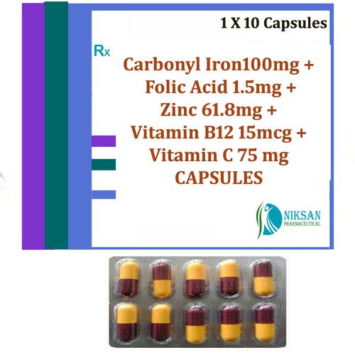Carbonyl Iron Folic Acid Zinc Vitaminb12 Vitamin C Capsules