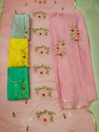 Glace Cotton With Chinon Dupatta Work