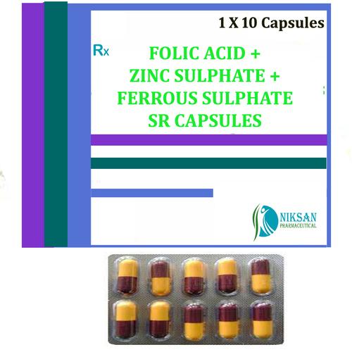 Folic Acid Zinc Sulphate Ferrous Sulphate Sr Capsules
