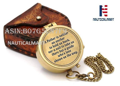 NAUTICALMART Brass Compass Best Gift for Dad Dad's Birthday Gifts/A Beautiful Quote for Father/Compass with Case.