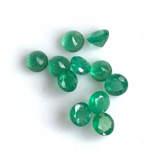 4mm Natural Zambian Emerald Stone Faceted Round Loose Gemstone Wholesale Price