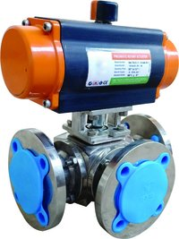 Rotary Actuated 3 Way Ball Valve