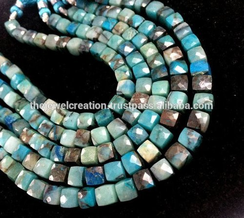 Natural Chrysocolla Stone Faceted Box Beads Wholesale Gemstone