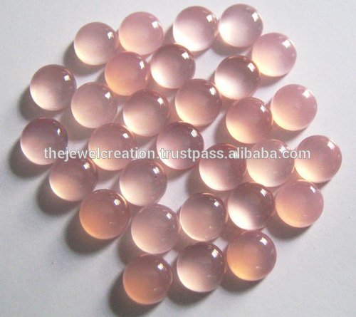 4mm Natural Pink Chalcedony Gemstone Round Cabochon Stone Price