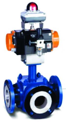 PFA And FEP Lined 3 Way Ball valve