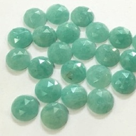 5mm Natural Amazonite Fancy Rose Cut Round Cabochon Stone