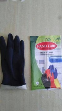 handcare  black rubber gloves