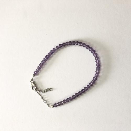 925 Sterling Silver Natural Amethyst Gemstone Faceted Balls Beads Bracelet Stone