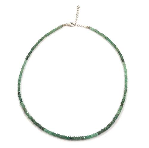 Necklace Natural Emerald Gemstone Faceted Beads Jewelry with Sterling Silver Clasp